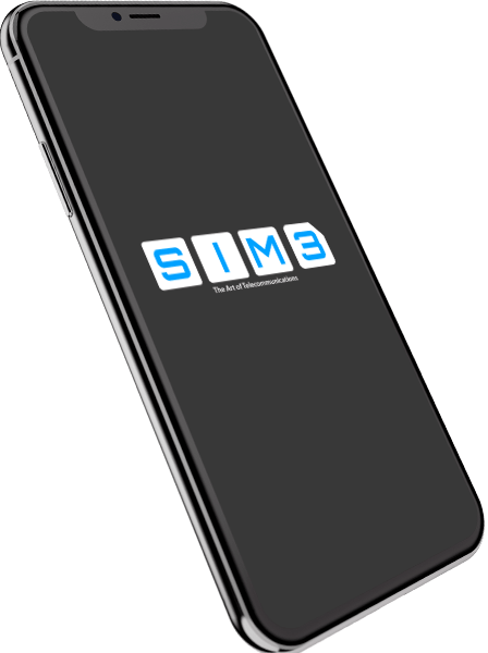 Iphone with Sim3 logo on the display.